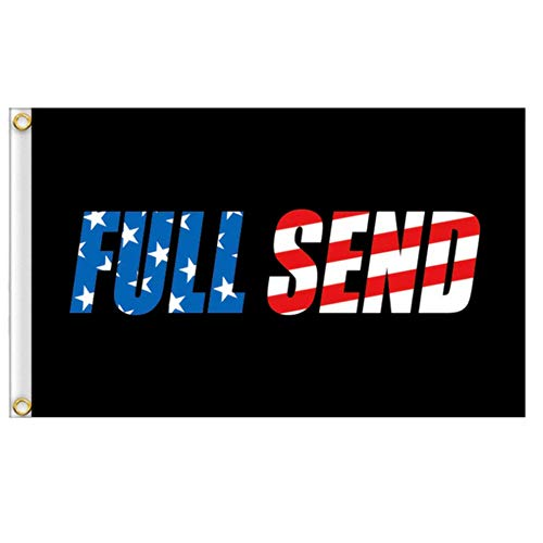OZMI Full Send US Flag, 3x5Ft Black Polyester Nelk Nelkboys for The Boys Banner with Brass Grommets, Flag for College Football Games Fraternities Parties Dorm Room Indoor and Outdoor Sport