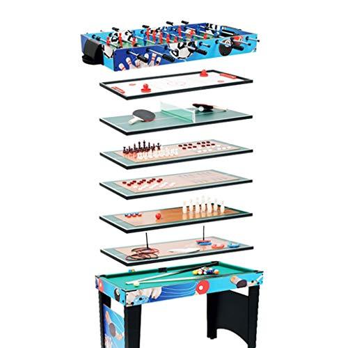 Tischkicker Tabelle Fußball Multifunktions-Spieltisch Kinderspielzeug Billardtisch Eishockey Tabelle Tischtennis Tisch (Color : Blue, Size : 107x61x81.5cm)