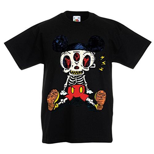 lepni.me Camisas para niños Esqueleto de un ratón (3-4 Years Negro Multicolor)