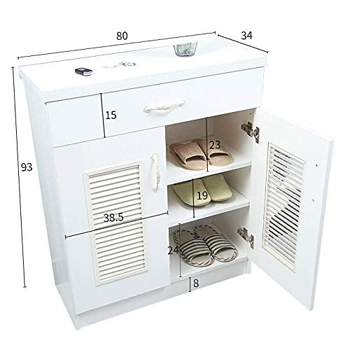 ZAIHW Scarpiera a 2 Ante, armadietto Portico - Scarpiera in Legno massello/con cassetto (Colore: Bianco-2 Ante)
