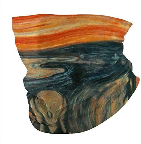 ZT-shop Edvard Munch The Scream Sun UV-Schutzhals-Gamasche, Staubschutz, Bandana Balaclava Kopfbedeckung zum Radfahren Wandern Black-one_color-