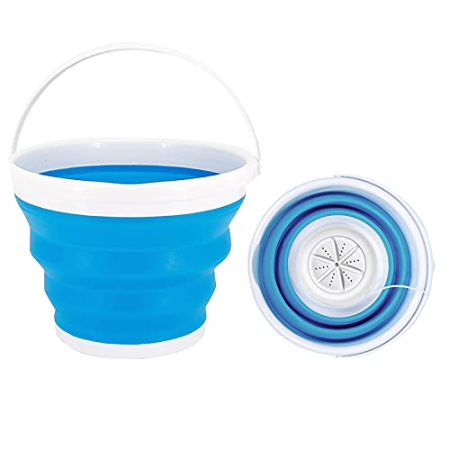 WOOW DEPOT Mini Portable Washing Machine Foldable Underwear Sock Baby Clothes Washer Laundry Tub Automatic Ultrasonic Turbo Washing Machine for Travel Apartment Business Trip, 10L Small Turbo