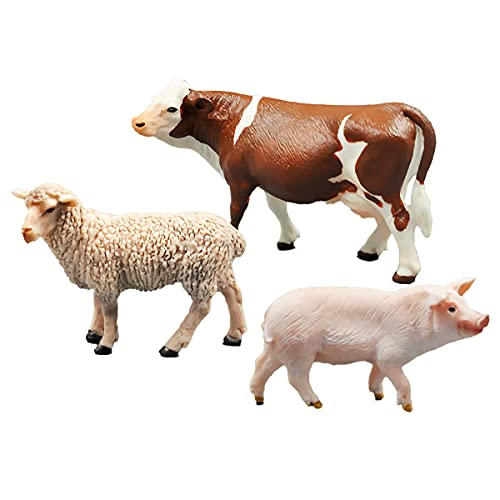 Large Farm Animals Figure Toy Set 3PCS Pig Sheep Simmental Cow Plastic Barn Animal Figurines for Kids