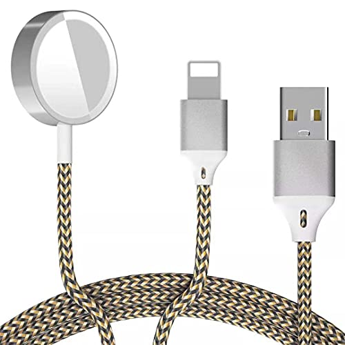 Watch Charger,High Strength Nylon Braided Wireless Magnetic Watch 2 in 1 USB Charging Cable Cord Compatible for Apple Watch Series SE/6/5/4/3/2/1 44mm 40mm 42mm 38m. (BlackGolden)