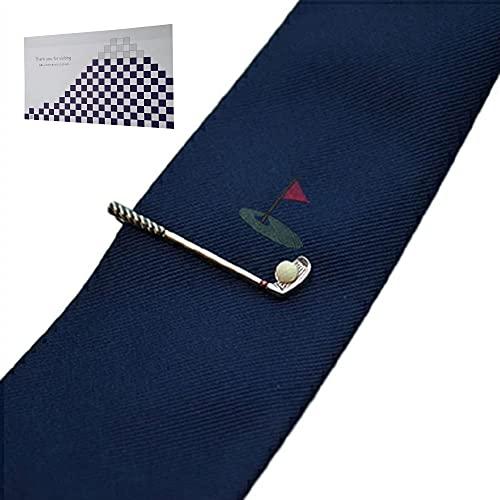 遊び心溢れるタイピン&シルクの高級ネクタイ「ゴルフ」 & おもてな紙セット SWANK(スワンク)シルク100%