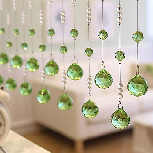 ZXL Beads Curtains Crystal Glass Hanging Strings Decorating Room Divider Door Living Room Pastoral (Color: Green, Size: 20 strings - 70cm x 150cm)