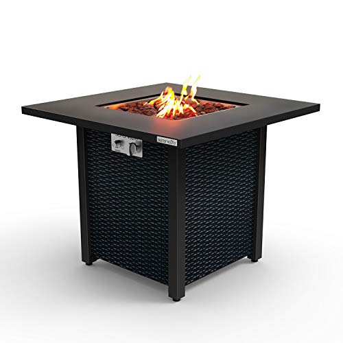 Outdoor Propane Fire Pit Table - CSA Approved Safe 40,000 BTU Pulse Ignition Propane Gas Fire Table - Steel Tabletop, Rattan-Look Steel Panel, 6.6 Lbs Decorative lave Rock Set - SereneLife SLFPS3
