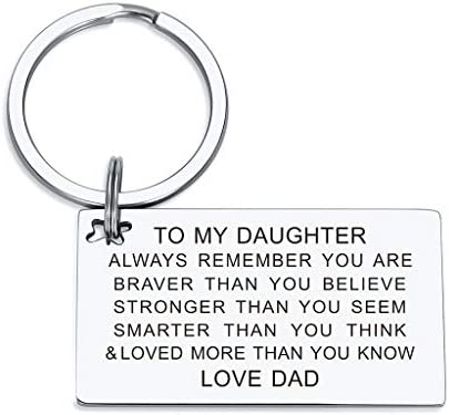 Daughter Keychain Birthday Gifts from Mom Dad Inspirational Key Ring You are Braver Loved than product image