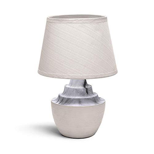 Aigostar - Lámpara de mesa, cuerpo color tostado semi ovalado, pantalla de tela color blanco, Lámpara de cerámica E14. Lampara mesita noche, perfecta para el salón, dormitorio, H29cm