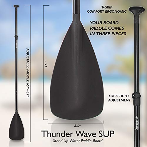 Product Image 9: SereneLife Inflatable Stand Up Paddle Board (6 Inches Thick) with Premium SUP Accessories & Carry Bag   Wide Stance, Bottom Fin for Paddling, Surf Control, Non-Slip Deck   Youth & Adult Standing Boat