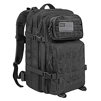 MEWAY 42L Military Tactical Backpack Large Assault Pack Molle Outdoors Daypack (Black)