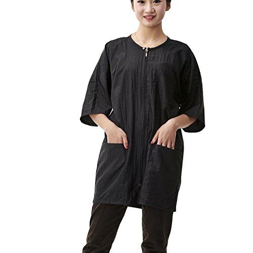 Colorfulife - Vestido de salón para cliente, bata tipo kimono con cierre de cremallera, para peluquería, para hotel, peluquería, para invitados, color negro