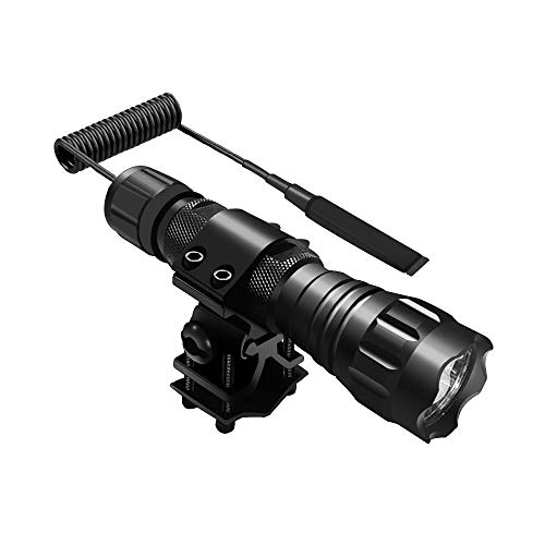Tactical Flashlight 1200 Lumen Weapon Light with Picatinny Rail Mount Flashlight Super Bright Hunting Torch Flashlight with Pressure Switch Tail, Rechargeable Batteries