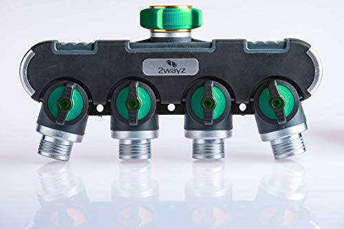 2wayz 4 Way Garden Hose Splitter, Upgraded (2019) Highly Durable Water Manifold Connector. Colors May Vary!