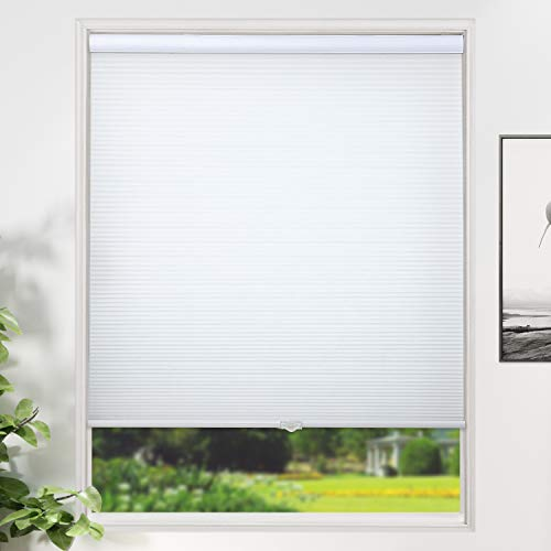 SUNFREE Honeycomb Blinds Cordless Cellular Shades Light Filtering Shades for Window and Door, Home and Office 34 x 64 inch White