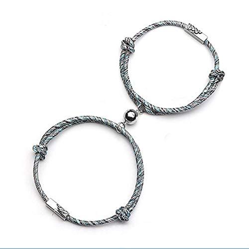 CXWK 2 unids/Set de Pulsera de Pareja para Mujer, Pulsera de Pareja de Amor Infinito, Pulsera de Cadena con Cierre magnético, joyería de Moda para Hombre