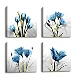 Wall Decorations For Living Room Decor - 4 Panel Elegant Tulip Flower Canvas Print Wall Art Paintings For Dining Room Wall Decor And Modern Framed Art Home Decor Size: 12x12inchx4pcs Blue Flower Print
