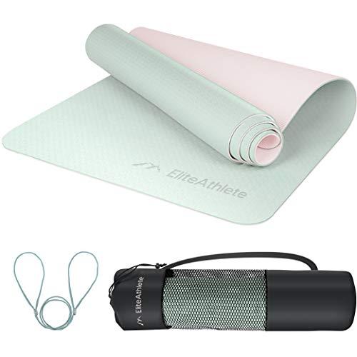 EliteAthlete Yogamatte - Fitnessmatte - Gymnastikmatte - Übungsmatte gepolstert & rutschfest für Fitness Pilates & Gymnastik - Sportmatte mit Tragegurt & extra Tasche - 183 cm x 61 cm x 0.6 cm