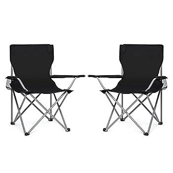 IWMH Chaise Pliable Chaise de Camping, Lot de 2 Portable Léger Pliable Chaises de Pêche de Jardin Extérieure avec Porte-Gobelet, pour Plage, Camping, Voyage, Pêche, Barbecue (Schwarz)