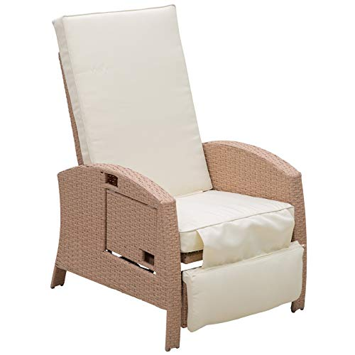 Outsunny Outdoor Rattan Wicker Adjustable Recliner Lounge Chair with Drink Tray & Stylish Contemporary Design, Beige