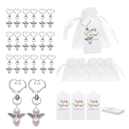 Wopohy Guardian Angel Keychains with Organza Bags, Angel Wings Keychain Heart Shaped with Thank You Kraft Tags for Baby Shower Bridal Shower Wedding Party Favors(20PCS)