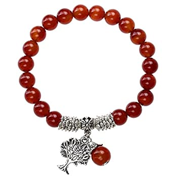 Jovivi 8MM Natural Red Agate Healing Point Tree of Life Lucky Charm Stretch Bracelet