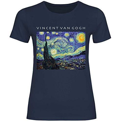wowshirt Camiseta Van Gogh Estrellada Noche de Arte La Pintura artística para Mujer, Tamaño:M, Color:Navy