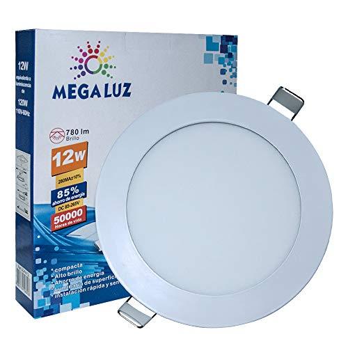 Megaluz S04W12 Plafón Led de Techo para Empotrar, Luz Blanca Brillante, Consumo 12W, Plafón de Techo con 840LM, Alta Eficiencia de Luz, Ahorro de Energía, Fácil de Instalar,...
