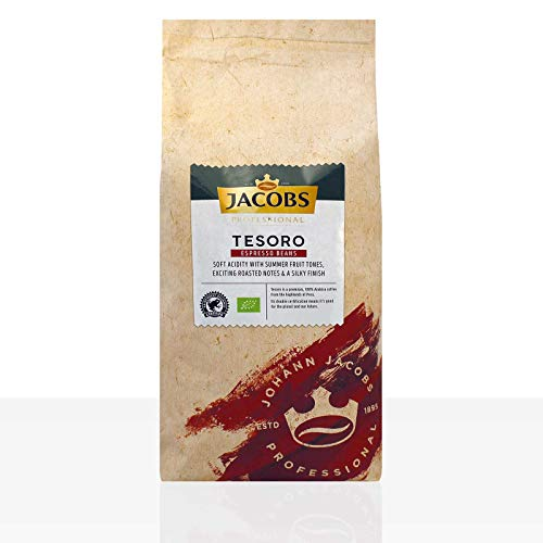 Jacobs Tesoro Espresso Peru - 1kg ganze Bio Kaffee-Bohnen, 100% Arabica