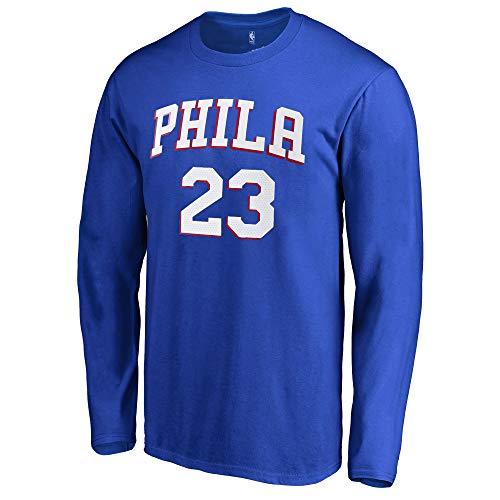 Outerstuff NBA Youth Game Time Team Color Player Name and Number Long Sleeve Jersey T-Shirt (Large 14/16, Jimmy Butler Philadelphia 76ers)