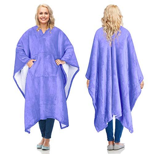 Catalonia Sherpa Wearable Blanket Poncho for Adult Women Men,Wrap Blanket Cape with Pocket,Warm,Soft,Cozy,Snuggly,Comfort Gift,No Sleeves,Purple