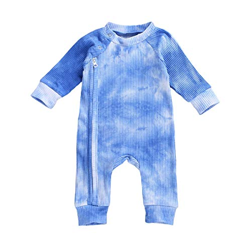 Shejingb Baby Girl Boy Ribbed Romper Tie Dye Zipper up Long Sleeve Bodysuit Jumpsuit Coverall Fall Outfits (Blue-B, 6-12 Months)