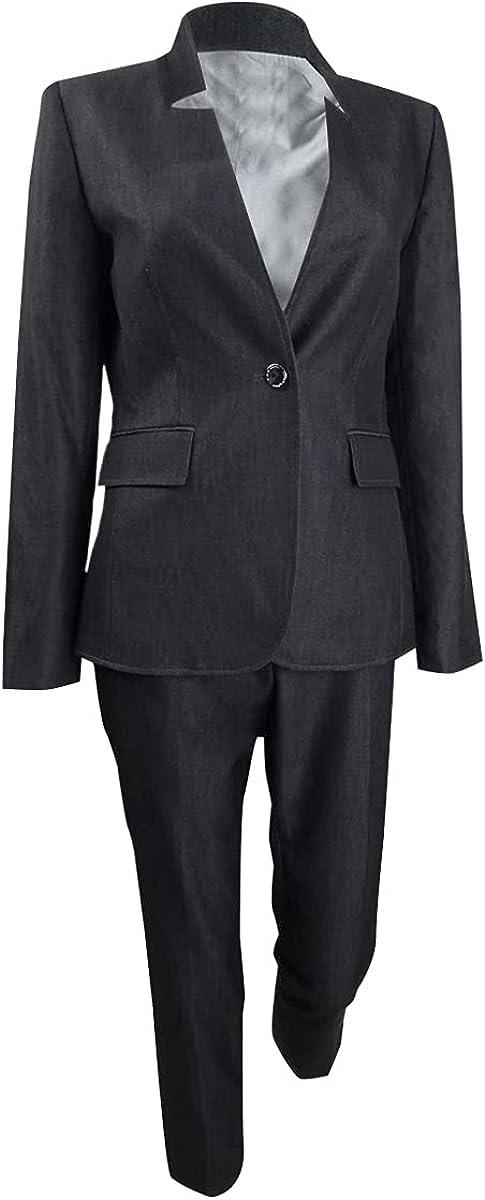 Tahari ASL Women's Star-Neck Pantsuit (2, Dark Grey)