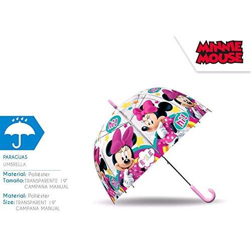 Minnie Mouse paraplu transparant klok 48 cm handmatig kamperen en wandelen kinderen jeugd unisex meerkleurig (meerkleurig), eenheidsmaat
