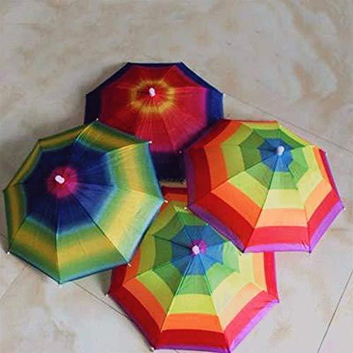 Yukie - Sombrero de paraguas de arco iris creativo, portátil, para exteriores, lluvia, toldo al azar, útil, camping, pesca, senderismo, paraguas para adultos y niños