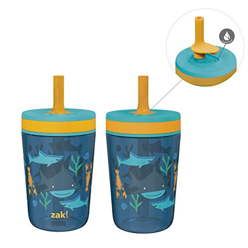 Zak Designs Kelso 15 oz Tumbler Set, ( Underwater ) Non-BPA Leak-Proof Screw-On Lid with Straw Made of Durable Plastic and Silicone, Perfect Baby Cup Bundle for Kids (2pc Set)