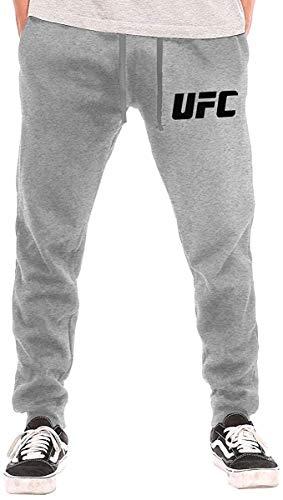 NALLK-7A UFC-Logo Pantalones Deportivos Deportivos de Secado rápido para Hombres de Dobladillo Abierto con Bolsillos