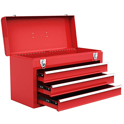 Goplus Tool Chest 20-Inch Portable Tool Box Steel Cabinet w/ 3 Drawers and Top tray, Red