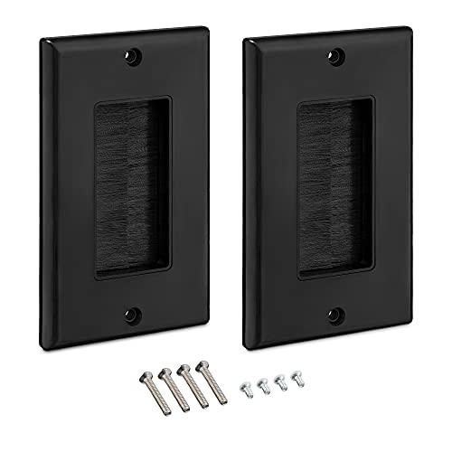 kwmobile 2x Placa de pared con cepillo - Set de pasacables para enchufes de US - Cubierta empotrable para tapar cables salidas hoyos cableado - Negro