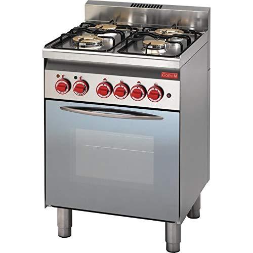 Piano de cuisson à gaz 4 brûleurs - four à gaz gril électrique porte vitrée - Gastro M - 600