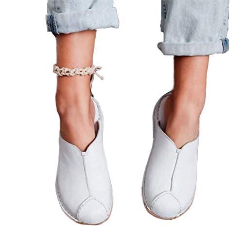 JFFFFWI Sandalias de cuña para Mujer Sandalias de Verano cómodas Zapatillas Planas con Punta Cerrada, Punta Redonda, sin Espalda, sin Espalda, en Mocasines, Zapatos de Barco de Moda para Mujer, blan