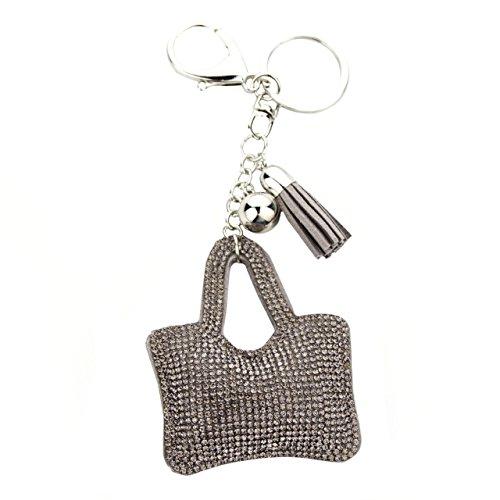 MANUMAR Schlüsselanhänger Handtaschen Dekoration in Tasche Täschchen Motiv aus glitzernden Strass Steinen mit Kordel und Fransen Geschenkidee