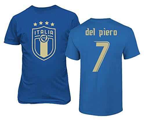 BTA Apparel Neu Neuheit Fußballlegenden #7 Alessandro DEL Piero Trikotstil Herren T-Shirt (Königsblau, L)