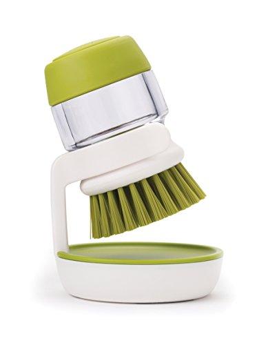 Joseph Joseph Palm Scrub - Abwaschbürste mit integriertem Spülmittelspender, inkl. Ständer - grün