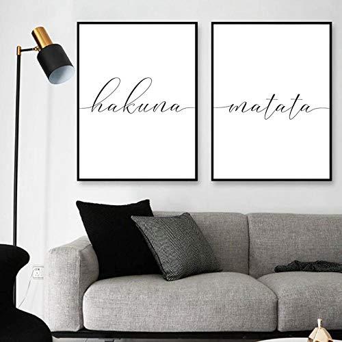 Hakuna Matata signe impression motivation citation noir blanc mur photo inspiration affiche drôle mur Art toile peinture décor/50x70 cm x 2 pcs-pas de cadre