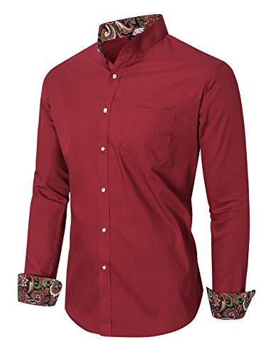 JEETOO Herren Hipster Patchwork Design Regular Fit Langarm-Stehkragenhemden (P-Rot,M)