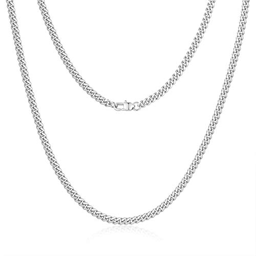 Jewlpire Diamond Cut Miami Cuban Link Chain for Men, Silver Chain for Men, Chain Necklace for Men Boys Women, Hip-Hop & Cool Men's Necklace, 316L Stainless Steel, 4mm Width, 22 Inch