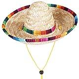 VILLCASE Hund Sombrero Hut Mini Stroh Sombrero Hüte Sonnenhut Sombrero Party Hüte für Kleine Haustiere/Welpen/Katze (Einstellbare Band)