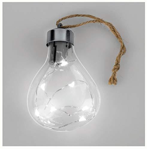 Glorex 6 7035 291 Glazen lamp met led-lichtketting om op te hangen, inclusief batterijen, ter decoratie en sfeervolle verlichting, ca. 6,5 x 9 x 3 cm groot.