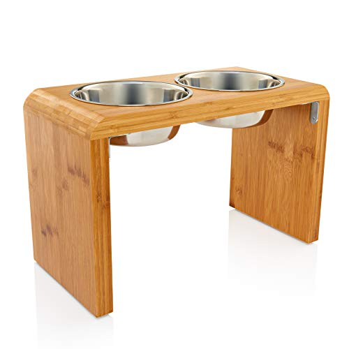 Large Elevated Dog & Pet Feeder - Double Bowl Raised Food and Water Stand